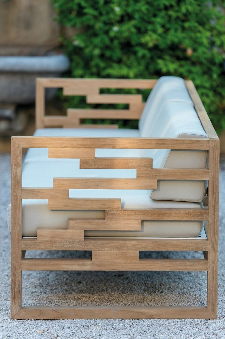 Modern outdoor wood bench - Sled Base Teak Garden Armchair Kontiki Collection By Emu Group Design Chiaramonte Marin