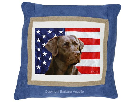 Chocolate Lab Patriotic Pillow for Dogimage by Barbara Augello