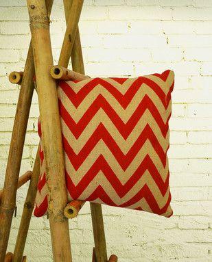 Jute Cotton Chevron Pattern Red Cushion Cover Cushion Cover