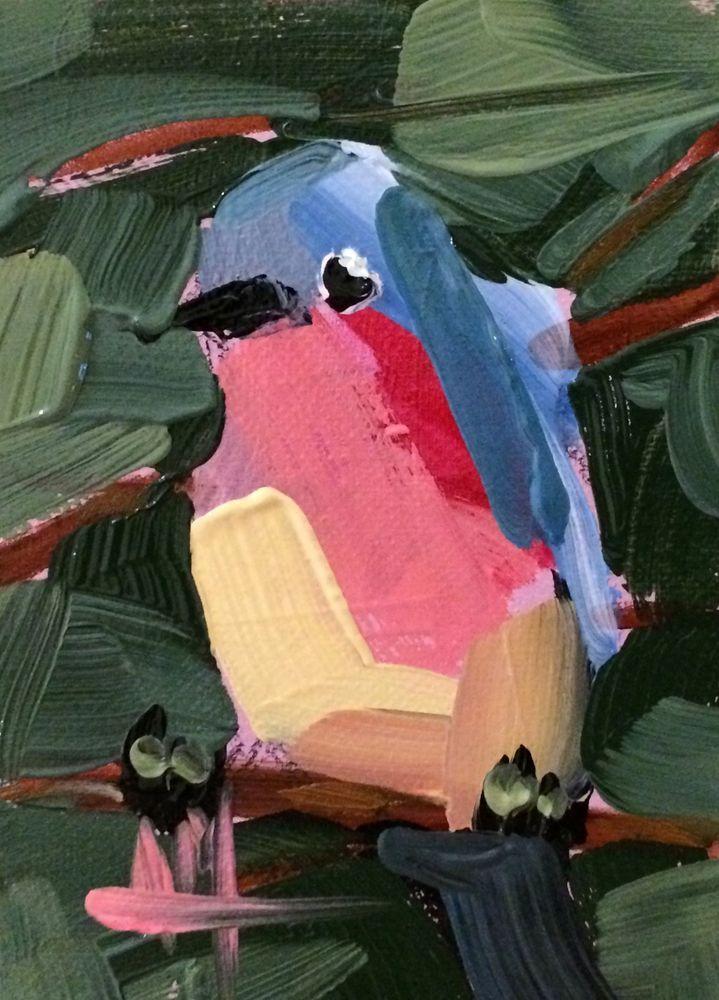 Bluebird no. 99 original bird oil painting Angela Moulton ACEO Art #Impressionism