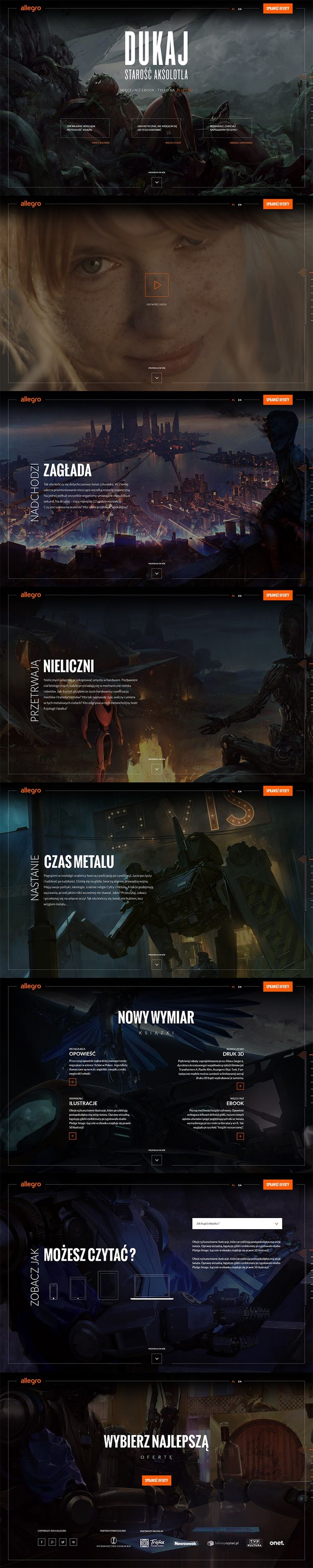 """Beautifully responsive, one-page experience for Polish sci-fi writer Jacek Dukaj's new novel """"The Old Axolotl""""  The site uses modern web technologies, including Pixi.js, a lightweight 2D rendering library that helped us animate objects in background.  Project was created in collaboration with Platige Image that delivered illustrations and video content.  Deliverables: UX, Web Design & Development. www.jacekdukaj.allegro.pl/#landing"""