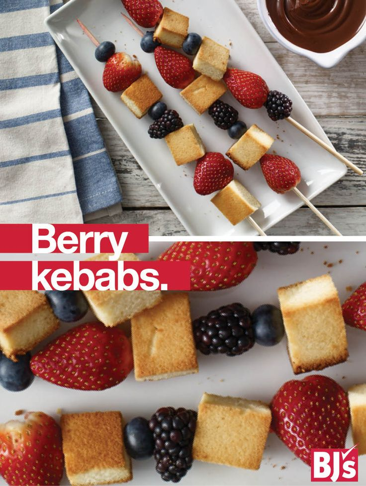 Summer Berry Kebabs Recipe: Whip up a tasty summer dessert. All you need is pound cake, fresh berries and easy chocolate chip dipping sauce.http://stocked.bjs.com/food/berry-kebabs