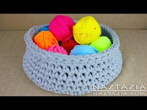 DIY Learn How to Make T-Shirt Yarn & Crochet a Basket (TShirt, T Shirt, Tarn, Trapillo, Zpagetti) - YouTube