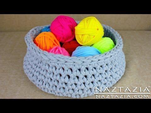 DIY Learn How to Make T-Shirt Yarn & Crochet a Basket (TShirt, T Shirt, Tarn, Trapillo, Zpagetti) - YouTube