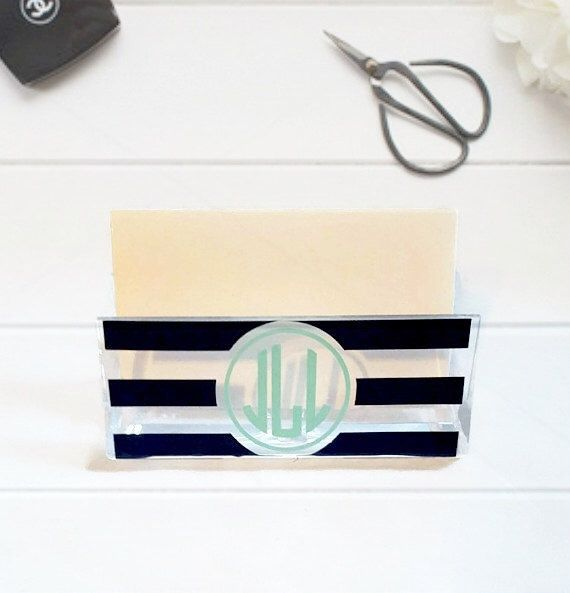 Personalized business card holder, monogram business card holder, office decor, desk accessory, desk decor, organization, secretary gift by TreasureUniverse on Etsy https://www.etsy.com/listing/286002199/personalized-business-card-holder