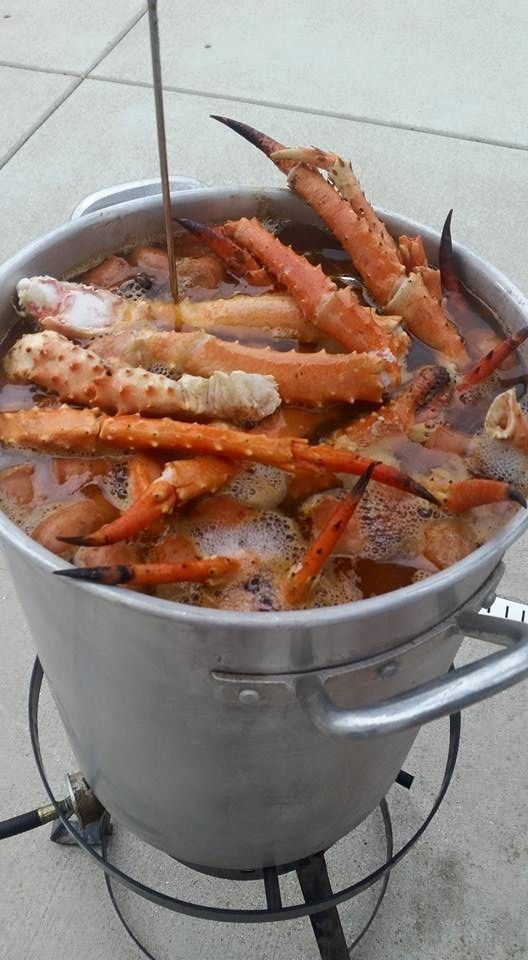 Our Seafood Boil: 4 large onions, 6lbs red potatoes, 2oz Penzey Chesapeake Bay Seafood Seasoning, 9 ears of corn, 3lbs andouille sausage, 5lbs colossal shrimp, 9lbs king crab legs