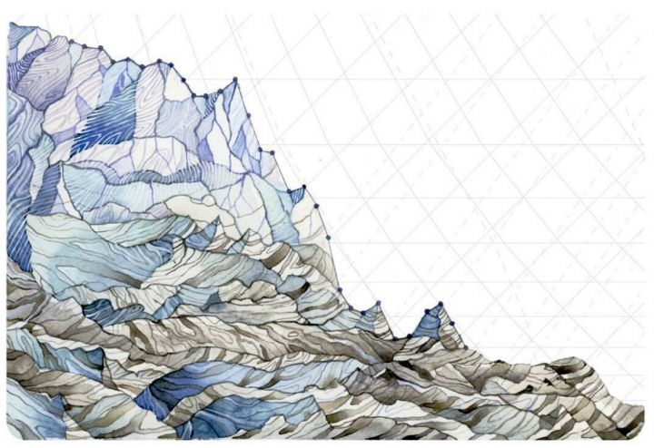 Artist turns climate data into striking paintings |Glaciers are losing mass in the North Cascades, where Pelto's father has done work for decades monitoring glacier retreat and related changes. Annual glacier mass balance data is represented in the painting.