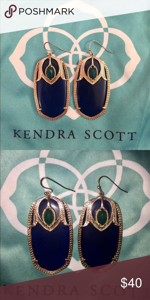 Kendra Scott Darby Earrings The earrings are in used condition. I am an honest seller and I would like you to know that the earrings are tarnished. They look more like rose gold. The earrings do come with backs and the ks dust bag. They are gorgeous for sure, but I want you to know about the tarnishing/discoloration before purchasing them. I took a picture with and without flash. Kendra Scott Jewelry Earrings