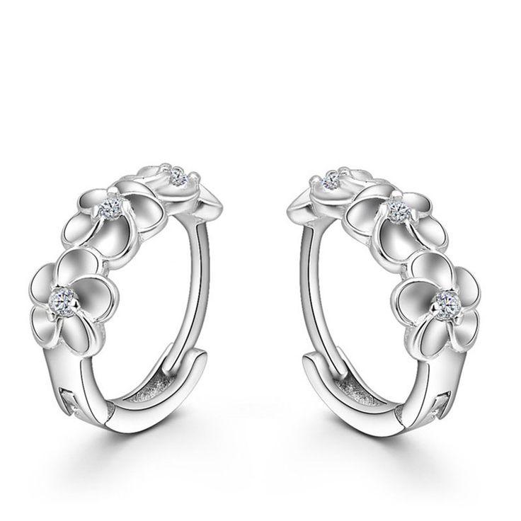 Top Sale 925 Sterling Silver Earring Woven Flowers Shape Hoop Earrings Embed CZ Crystal Pretty Earring For Wedding Accessories