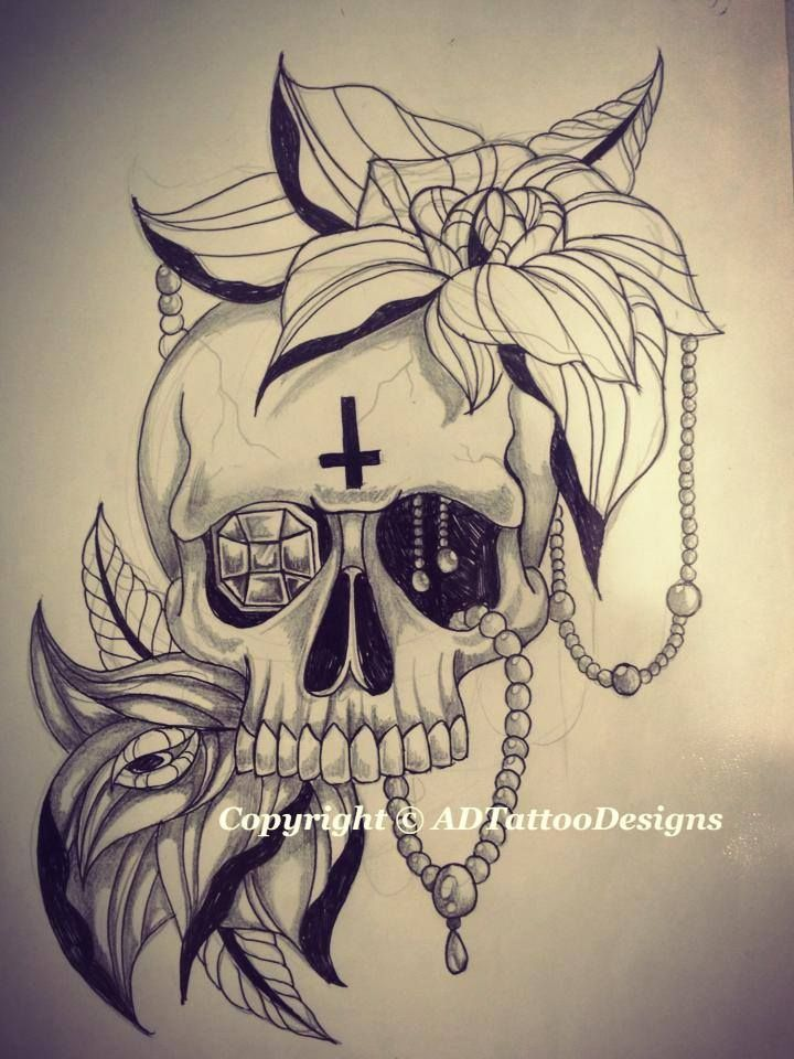 satanic skull with roses and jewels if anyone is