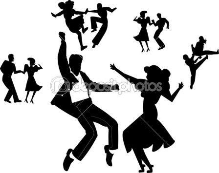 dançarinos do rock and roll — Ilustração de Stock #19186315