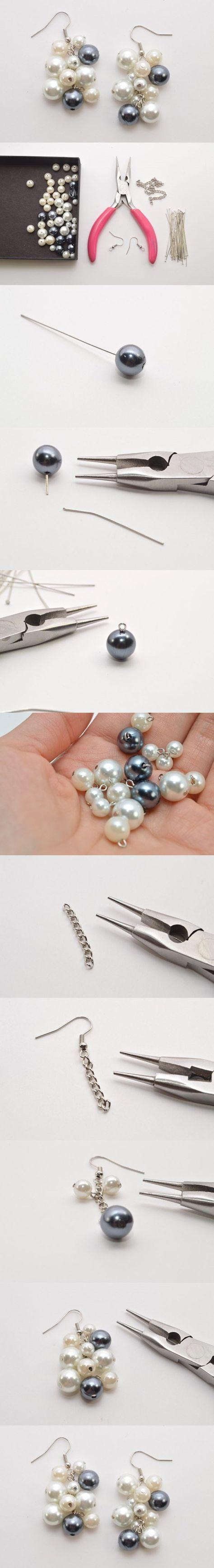 Easy Tutorial on Pretty Pearl Cluster Earrings Making