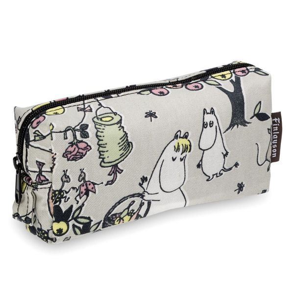 New make up pouch to celebrate the Tove 100 Jubilee. The pattern is delightfully rich in details and features many of the inhabitants of the Moominvalley. The stylish soft colours makes this make up bag something very special. Finlayson's quality fabric is 100% cotton. Combine with other pieces from the  Tove 100- series.Colour grey/peach. Size 18 x 11 cm.
