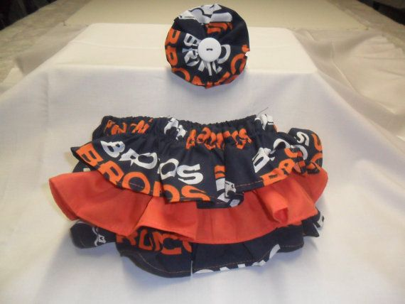 Denver Bronco colors Ruffle Bloomers with Matching Headband  Set --  Football girl - Bronco baby - Denver Bronco  - baby girl