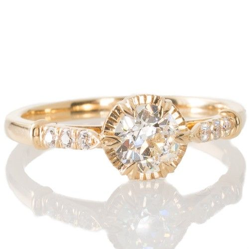 An 18ct yellow gold solitaire engagement ring by Single Stone LA claw set with an old cut diamond. View our collection of antique, Art Deco, and modern jewellery at www.rutherford.com.au