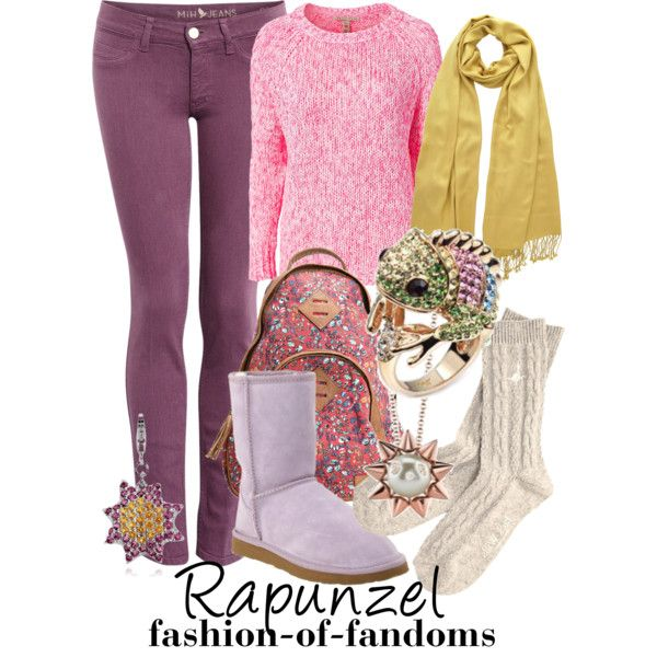 Rapunzel by fofandoms on Polyvore featuring NLY Trend, MiH Jeans, Jack Wills, Ukala, Blue Nile, PASHMINA ART, Shayan Afshar, winter, disney and disney fashion