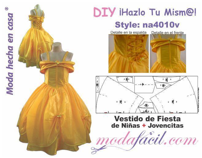 Voici le Tuto de la Robe de Belle, version Enfant Cette robe a été créée à partir du patron disponible sur le site espagnol Modafacil J'ai effectué quelques modifications pour un resultat plus proche de ma vision de la robe de la princesse Disney Los...
