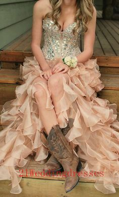 Real Beautiful Beading Long Prom Dresses,Charming Champagne Prom…