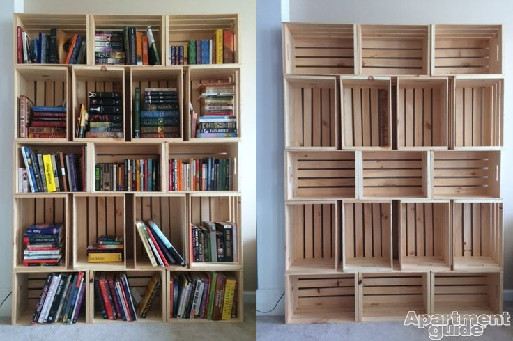 Bookshelf made from wooden crates.  www.apartmentguid…