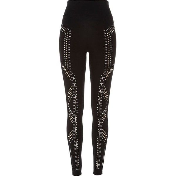 River Island Black sparkly high waisted leggings ($24) ❤ liked on Polyvore featuring pants, leggings, black, sale, women, high waisted pants, high-waist trousers, legging pants, sparkly leggings and high rise pants