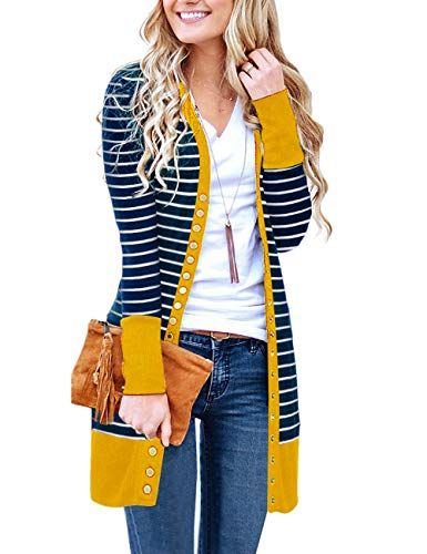 MEROKEETY Women s V Neck Striped Long Sleeve Snap Button Down Ribbed  Contrast Color Cardigan Mustard c120e3f6a
