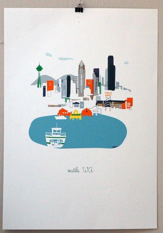 Seattle by albie designs: Emeralds Cities, Favorite Places, Design Seattle, Seattle Art, Albi Design, Albie Design, Art Prints, Seattle Prints, Prints 11X14