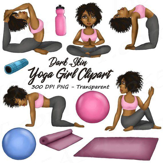 Yoga Girl Clipart Natural Hair Yoga Clipart Fitness Etsy Girl Clipart Natural Hair Styles Clip Art