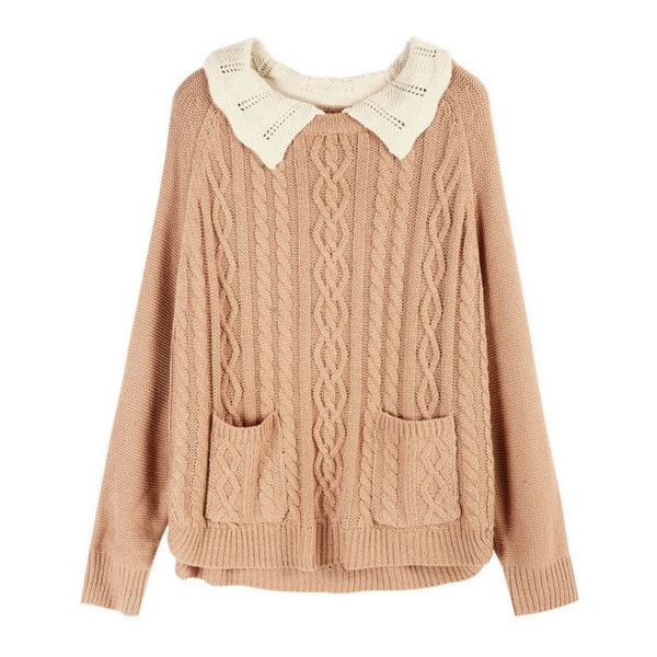 Pink Cable Knitted Jumper With Contrast Crocheted Collar ($89) ❤ liked on Polyvore