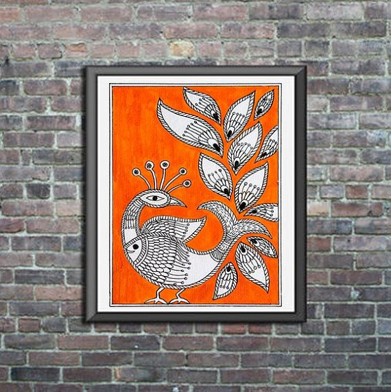 Orange Original Madhubani Mithila Painting 5X7 by ColorAlley