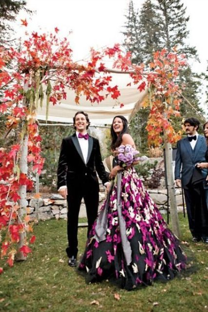 27 Fall Wedding Arches That Will Make You Say 'I Do!': #3. Red leaf fall wedding arch