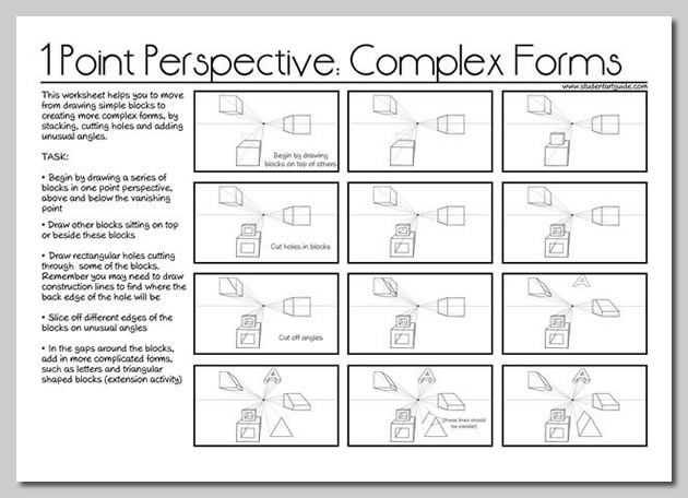 one point perspective lesson plan - This worksheet illustrates how to stack blocks, cut away portions and add unusual angles in a one point perspective drawing, creating gradually more complex forms.