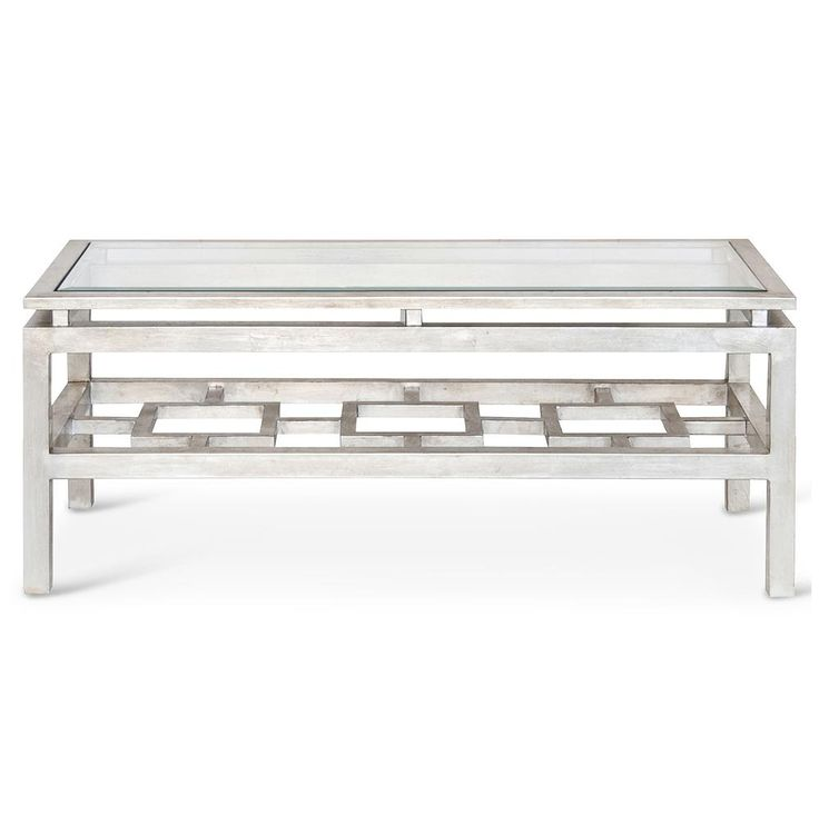 Klee Hollywood Regency Silver Leaf Glass Coffee Table   Kathy Kuo Home