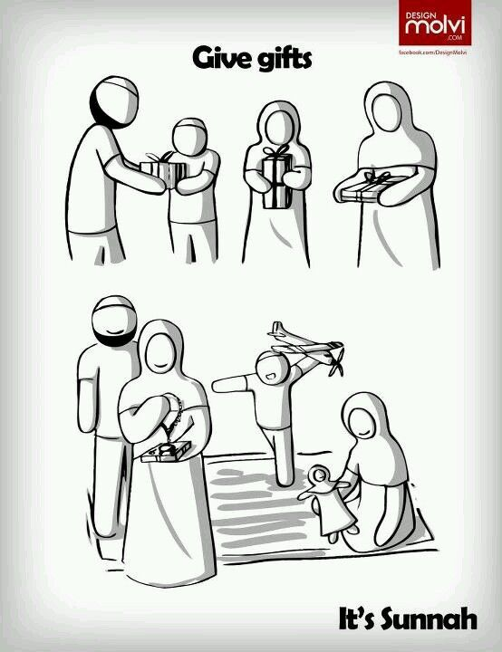 Give gifts. Its Sunnah(highly recommended) in Islam as it also increases love and friendship