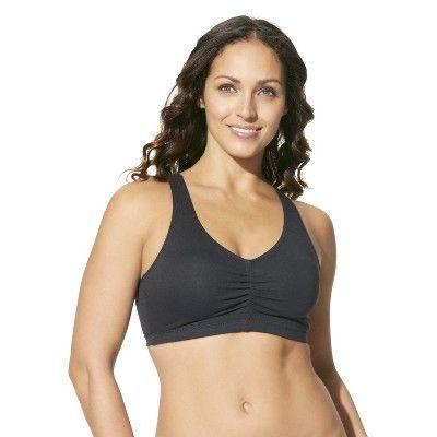 Hanes Women's ComfortFlex Fit Stretch Cotton Sport Bra H570 2-Pack - Gray/Pink L, White/Black