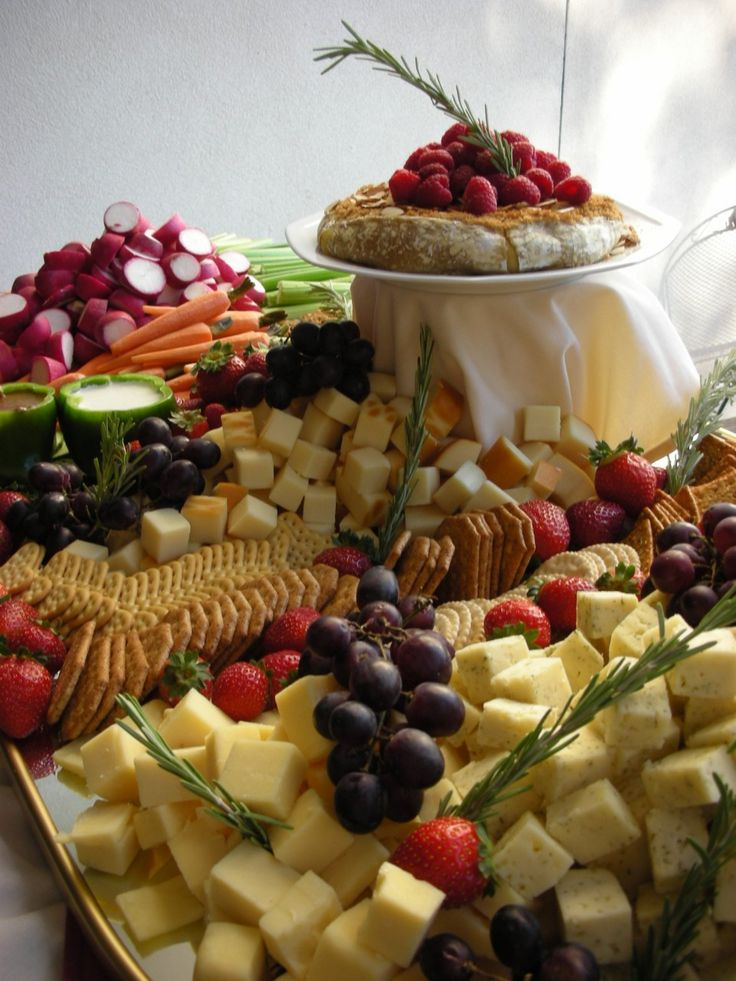 wedding cocktail hour cheese and vegetable display | Cheese, Fruit, and Vegetable crudites display available from our ...