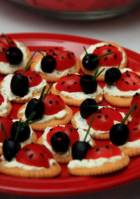 Lady Bug Party Food for Mad Hatter's Tea party- cracker, cream cheese spread, cherry tomatoes & olives