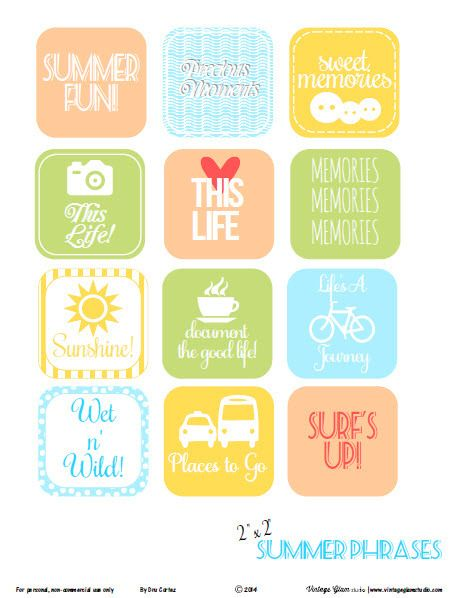 Summer phrases word art preview Summer Phrases    Free Printable Download