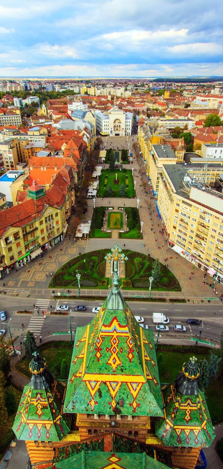 Timisoara city from Romania seen from the top of the Orthodox Cathedral.