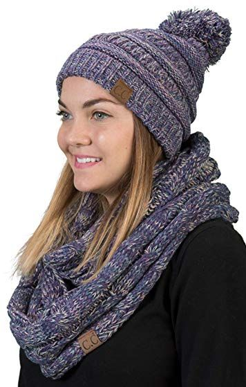 Funky Junque C.C Womens Infinity Scarf and Pom Beanie Matching Winter  Bundle Set Review 785f2840198d