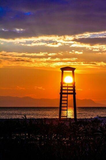 Sunset California USA lifeguard tower