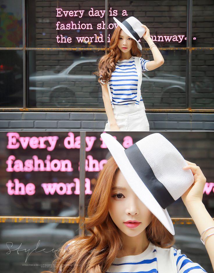 StyleOnme_ Letter M Belted Straw Hat #stylish #spring #fashion #hat #white #stripe #cute #koreanfashion #pretty