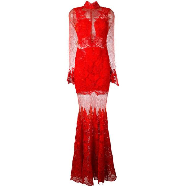 Jonathan Simkhai sheer lace maxi dress (£4,020) ❤ liked on Polyvore featuring dresses, red, maxi dresses, sheer lace maxi dress, red maxi dress, jonathan simkhai and sheer lace dresses