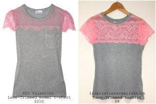 DIY Red Valentino-inspired lace-trimmed t-shirt