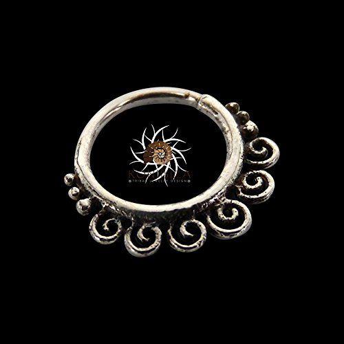 Handmade Silver Nose Ring - Silver Nose Hoop - Indian Nose Ring - Tribal Nose Ring - Nose Jewelry - Nose Piercing - Nostril Ring - Nostril Jewelry