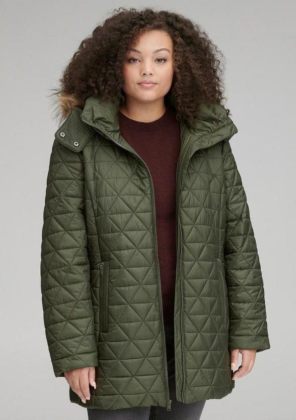 e32f003485536 Olive Green Plus Size Coat for Women - This plus size olive green coat  features light weight faux down filling