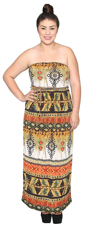 Libian Jr Plus Size Tribal Print Design Maxi Dress with Belt >>> Tried it! Love it! Click the image. : Women clothing