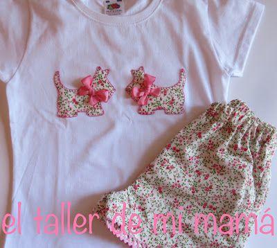 Conjunto de niña. Camiseta y pantalón corto con tela de flores. Modelo con perrito. Se puede personalizar con otra tela y colores.