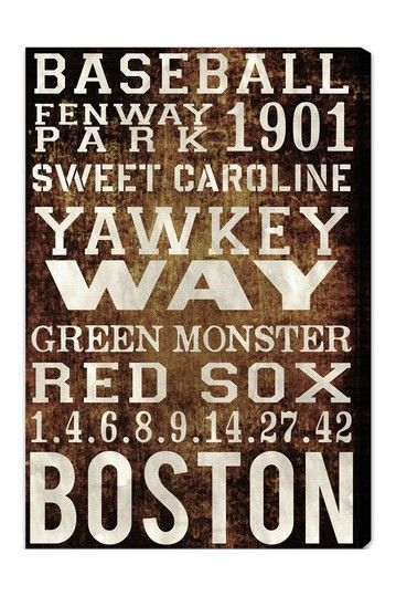 """Oliver Gal """"Boston Red Sox"""" Canvas Wall Art by Oliver Gal Gallery on @HauteLook"""