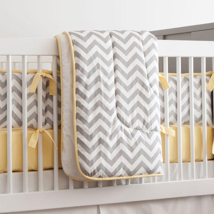 Gray And Yellow Zig Zag Crib Comforter