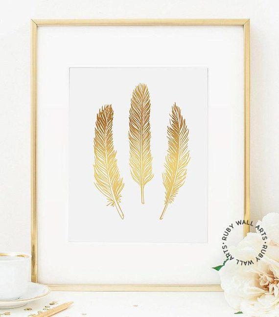 Gold Feather Print, Poster, Bird Feather, Print, Wall Art, Home Decor, Printable, Scandinavian, Affiche Scandinave, Tribal, Ethnic,Three Feathers, Nursery Decor, Home Decor,